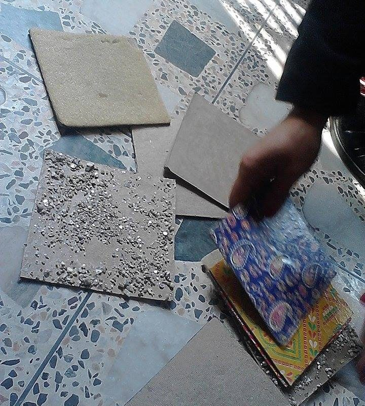 """Handmade """"post card"""" with different hand sensation to develop the sense of touch (different paper, sand, stone glued on the card…"""