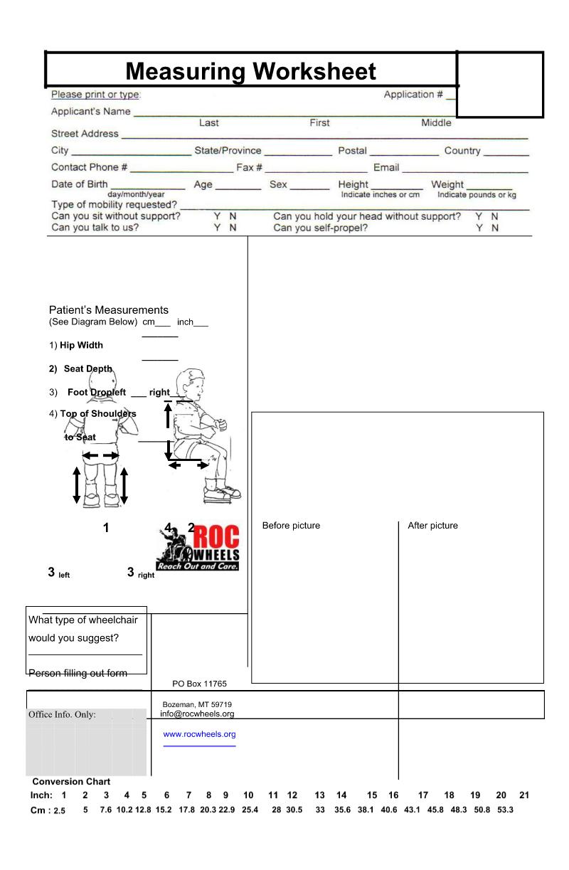 measuring worksheet - CDCA Kapan